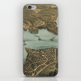 Vintage Pictorial Map of Lake Chautauqua NY (1885) iPhone Skin