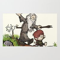 gandalf Area & Throw Rugs featuring Bilbo and Gandalf by Cool Johnny