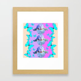 LILAC-PURPLE BLUE BUTTERFLIES MODERN ART Framed Art Print