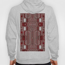 Red Geek Motherboard Circuit Pattern Hoody