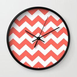 Coral Chevron Wall Clock