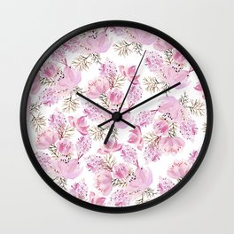 Modern pink lavender watercolor hand painted flowers Wall Clock