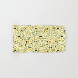 Yellow, Green & Black Floral/Botanical Pattern Hand & Bath Towel
