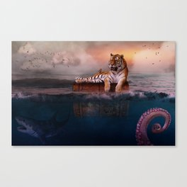 Octopus and Shark Attacks Tiger by GEN Z Canvas Print