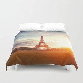Sunset Eiffel Tower Duvet Cover