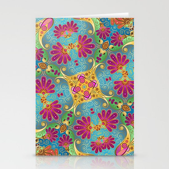 colorful flower pattern Stationery Cards