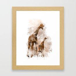 Giraffe and Baby Framed Art Print