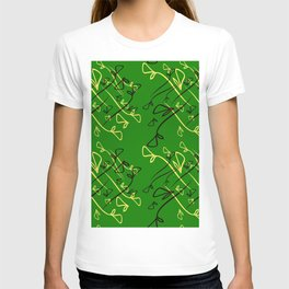 Pattern from plant dreen and lilac elements on an eggplant background in a geometric style. T-shirt