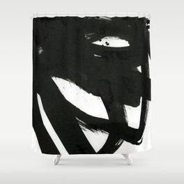 black on white 1 Shower Curtain