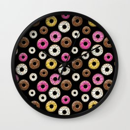 Donut Pattern - Black Wall Clock