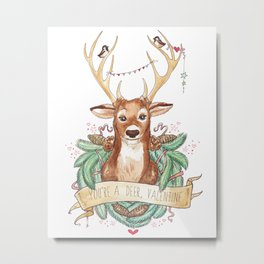 Deer Valentine Metal Print