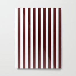 Narrow Vertical Stripes - White and Bulgarian Rose Red Metal Print