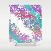 fringe Shower Curtains featuring Fringe Floral by Ruby Valderama