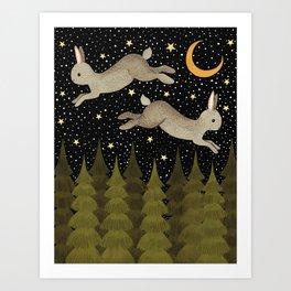 midnight hare Art Print