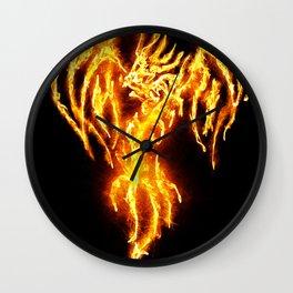 Dragon skeleton in flames Wall Clock