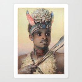 Carl Haag (1820-1915) Uskai, a Contented Zulu Art Print