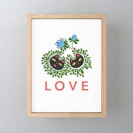 Black Cat Love Framed Mini Art Print