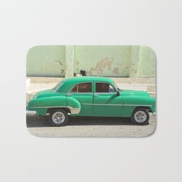 Vintage Car Havana Cuba Green Old Automobile American Classic Latin America Tropical Caribbean Bath Mat