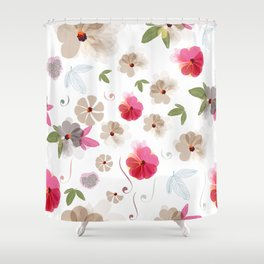 Cute soft spring pattern with flowers Shower Curtain