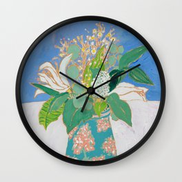 Lily and Eucalyptus Bouquet in Blue and Peach Floral Vase Wall Clock