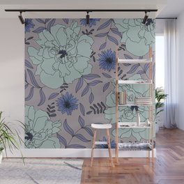 Ice Blue Peony Blooms Modern Floral Print in Aquamarine Wall Mural