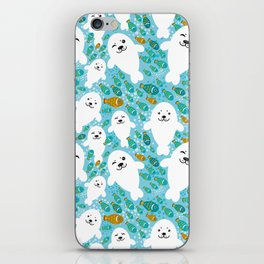 White cute fur seal and fish in water iPhone Skin