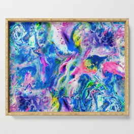 Bathbomb, fluid art, psychedelic art, trippy, psytrance, lsd, acid Serving Tray