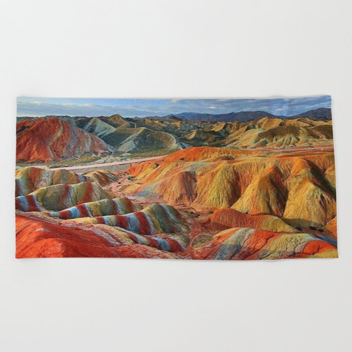 colours mountains Beach Towel