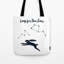 Leap for the Stars - Black Rabbit Tote Bag
