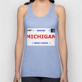 Michigan Gifts, Patriotic Michigan Bumper Licence Product Unisex Tank Top