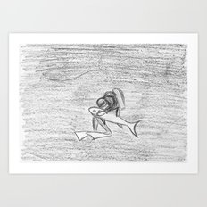 Shark Tenderness Art Print