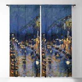 Boulevard Montmartre at Night by Camille Pissarro Blackout Curtain