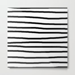 Simply Drawn Stripes in Midnight Black Metal Print