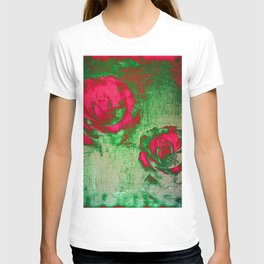 Morning Magenta Roses on Vintage Canvas T-shirt