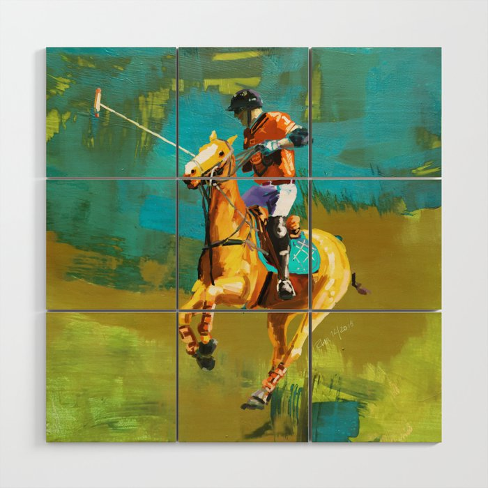 poloplayer abstract turquoise ochre Wood Wall Art