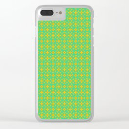 Four Petal Copper Flower on Turquoise Mint Green Jeweled Country Design Pattern Clear iPhone Case