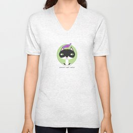 Tuxedo Cat and Purple Bird Unisex V-Neck