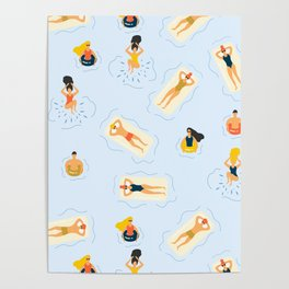 Abstract Summer Fun Bathing Time Pattern Poster