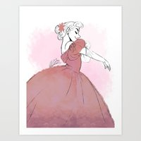 dress Art Prints featuring Dress by meglikestodraw