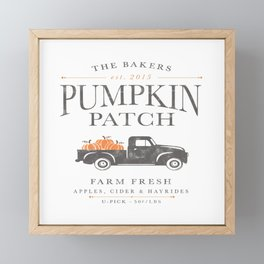 Pumpkin Patch U-Pick Farm Fresh Farmhouse Design Framed Mini Art Print