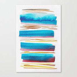 10   |181026 Lines & Color Block | Watercolor Abstract | Modern Watercolor Art Canvas Print