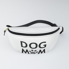 Black paw print with hearts. Dog mom text. Happy Mother's Day background Fanny Pack