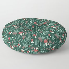 Cottagecore Yule Nature Pattern Green Floor Pillow