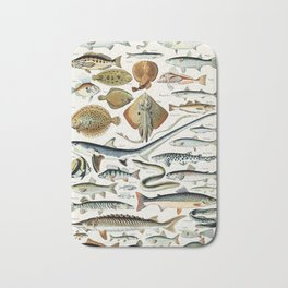 Vintage Illustration Fish Chart Bath Mat