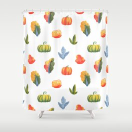 Autumn Nature Pattern with Pumpkin,  Colorful Trees and Bush Shower Curtain