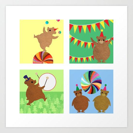 Circus Bears Set Art Print