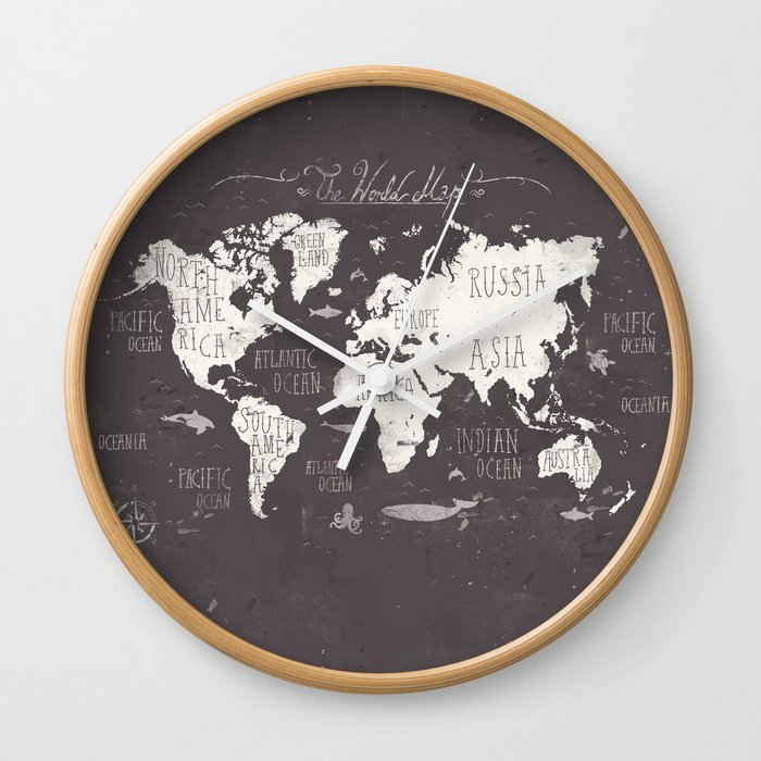 The World Map Wall Clock By Mikekoubou Society6