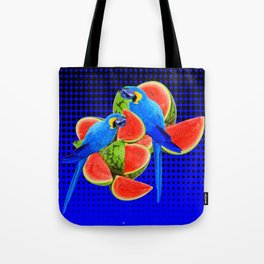 BLUE MACAWS EATING WATERMELONS ON ROYAL BLUE Tote Bag