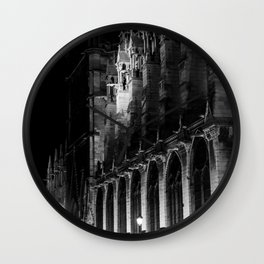 A View of the Northern Edge of Notre Dame Cathedral, Paris, France Wall Clock