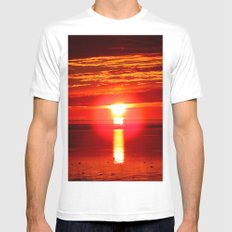 Fireball and the sea White Mens Fitted Tee MEDIUM